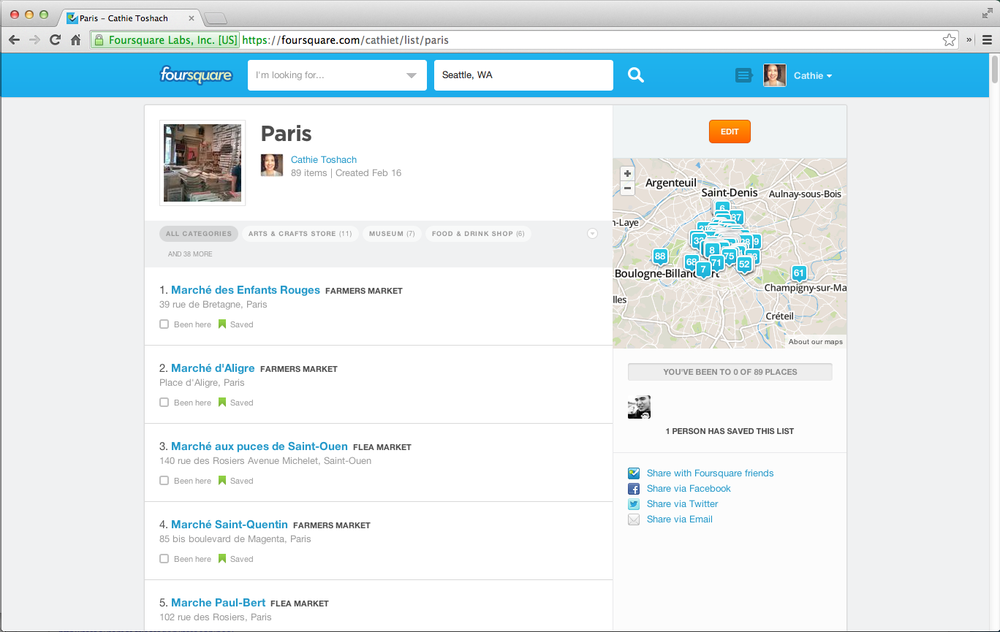 Foursquare - more places than time