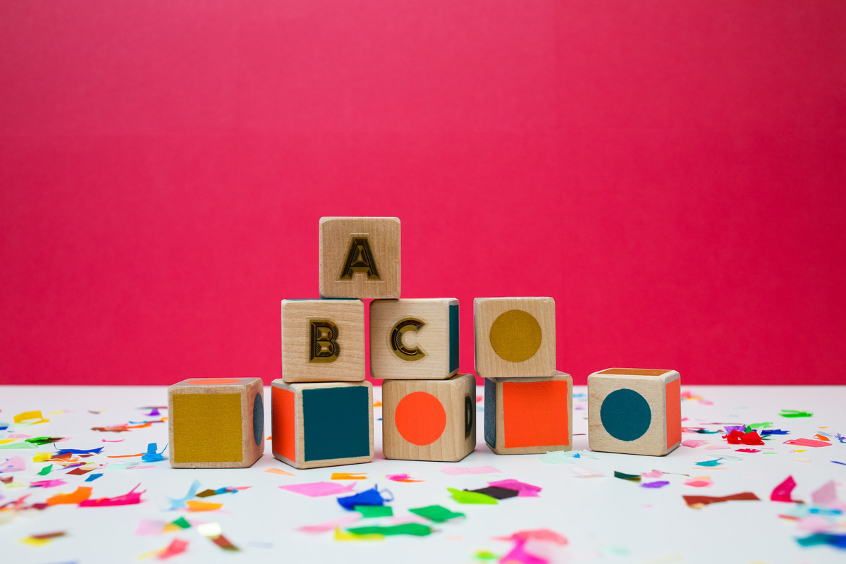 DIY Alphabet Blocks- tinsel + trim