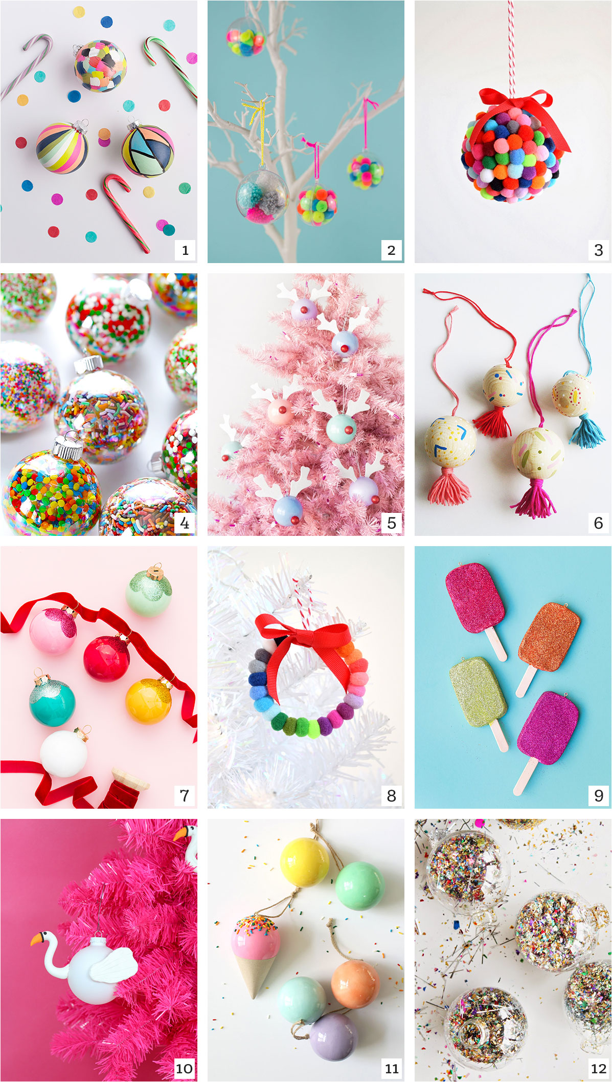 DIY Christmas Ornaments Roundup - tinsel + trim