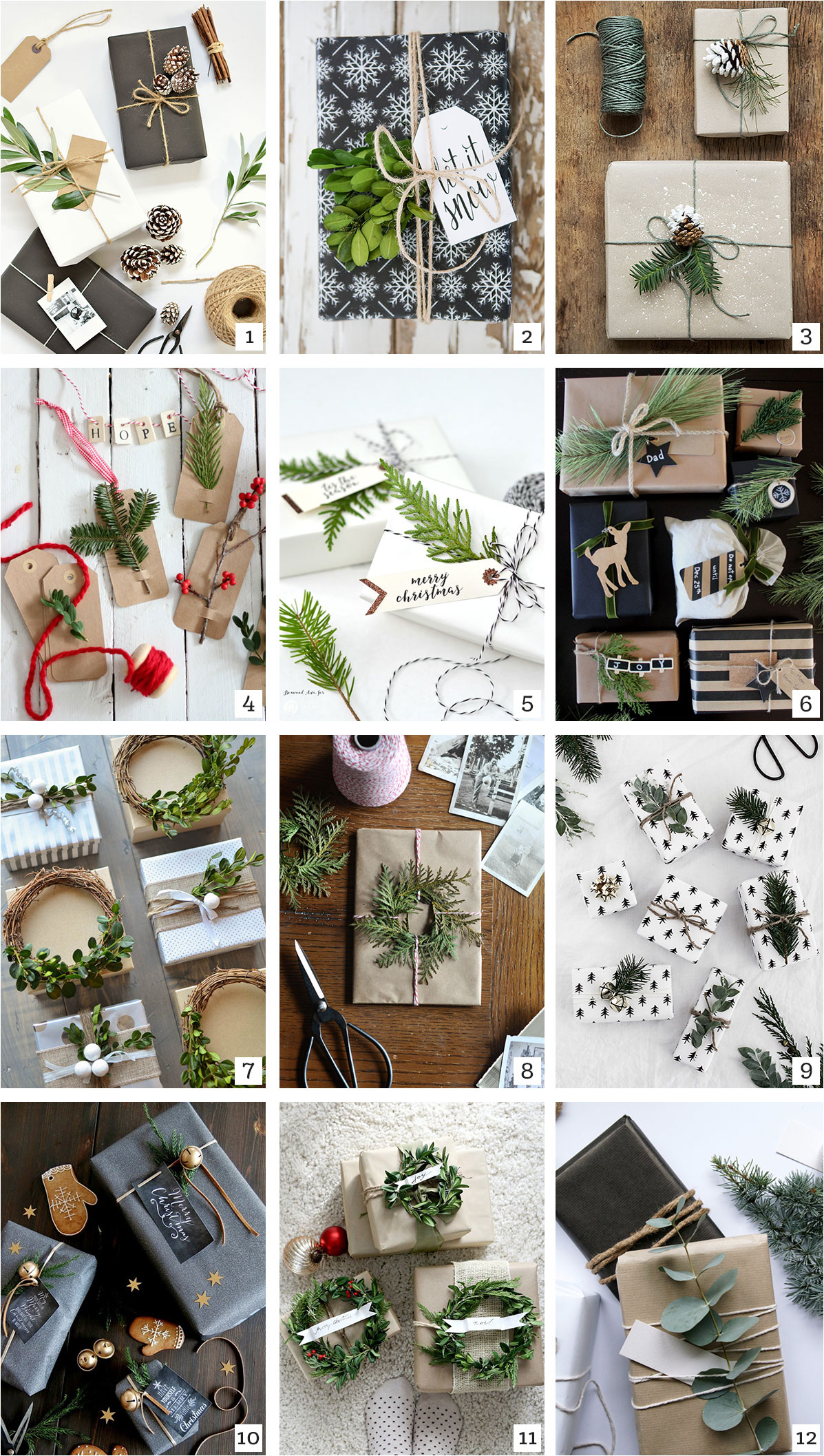 Saturday Roundup - DIY Nature Inspired Holiday Gift Wrap - tinsel + trim