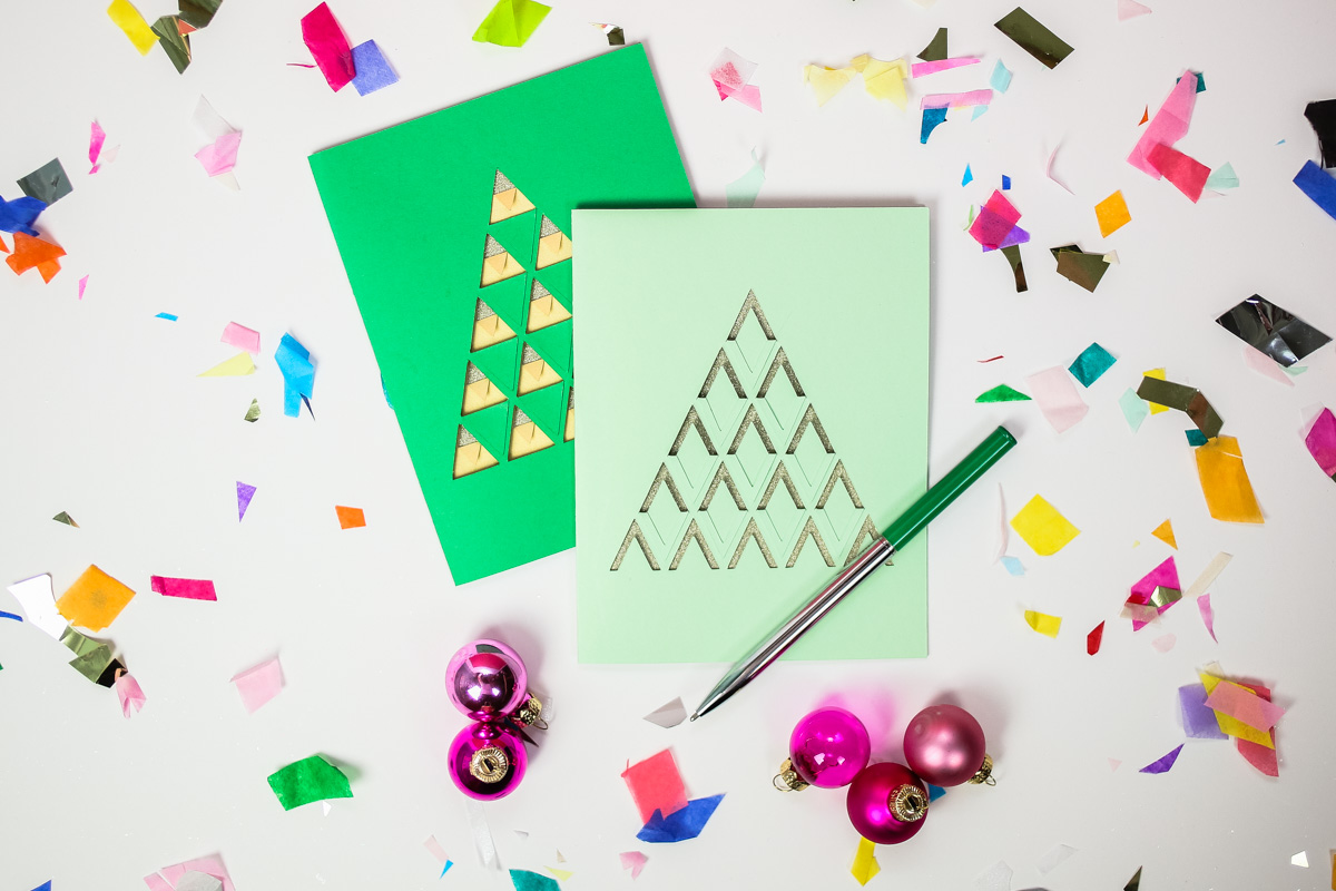 DIY Papercut Christmas Tree Cards - tinsel + trim