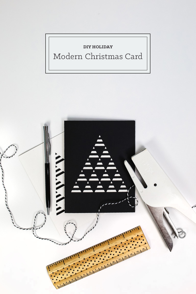 DIY Modern Papercut Christmas Cards - tinsel + trim