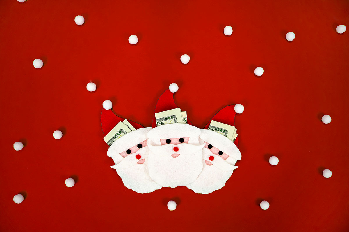 Santa Money Holder - tinsel + trim
