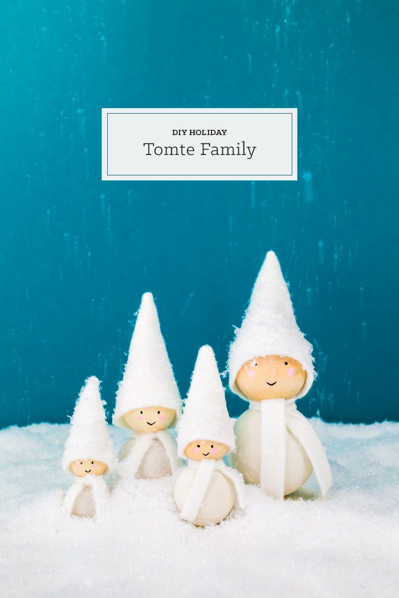 DIY Holiday Tomte Family - tinsel + trim