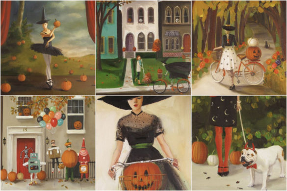 Halloween-inspired paintings from Janet Hill Studio