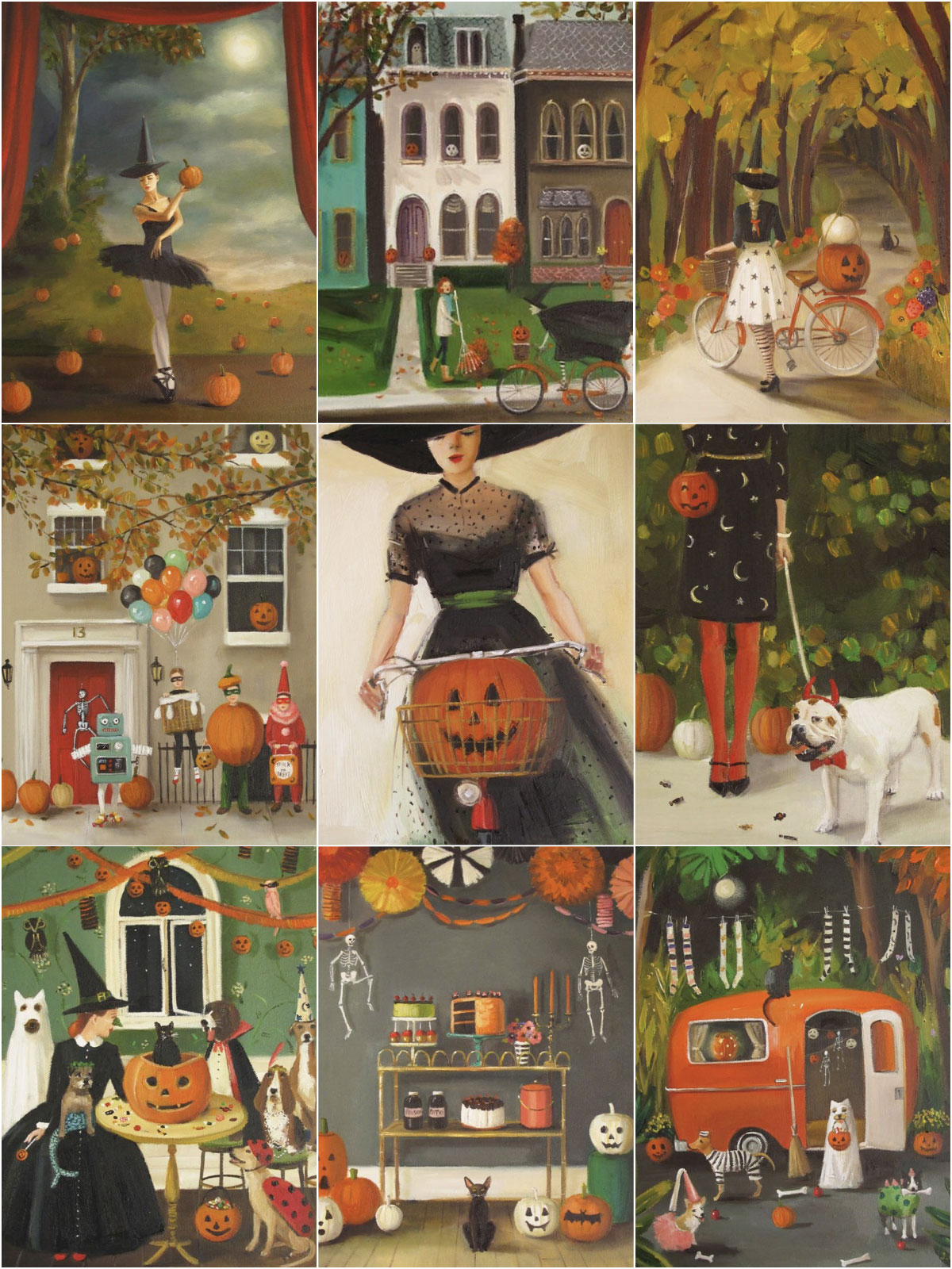Halloween inspired paintings from Janet Hill Studio